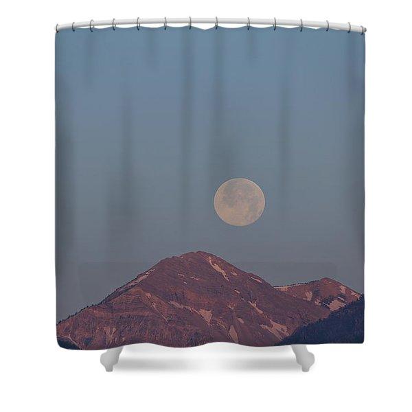 Full Moon Over The Tetons Shower Curtain