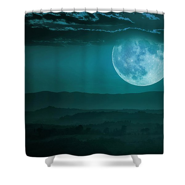 Full Moon Over Tuscany Shower Curtain