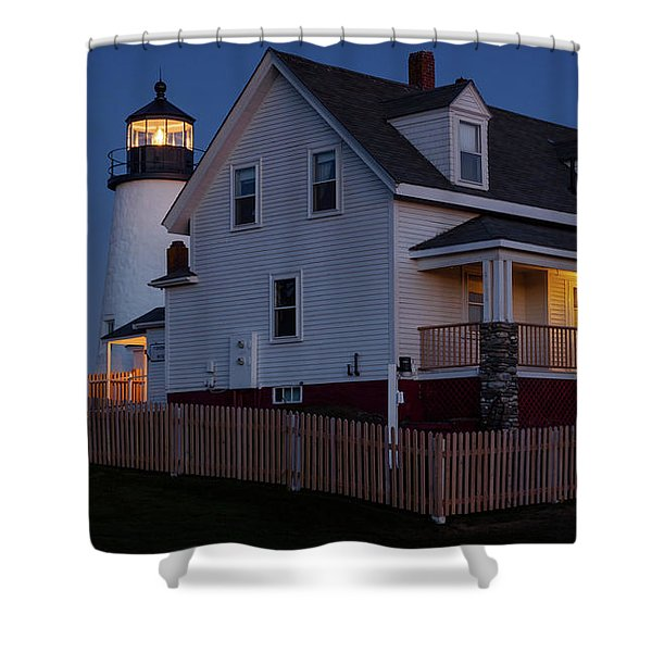 Full Moon Rise At Pemaquid Light, Bristol, Maine -150858 Shower Curtain