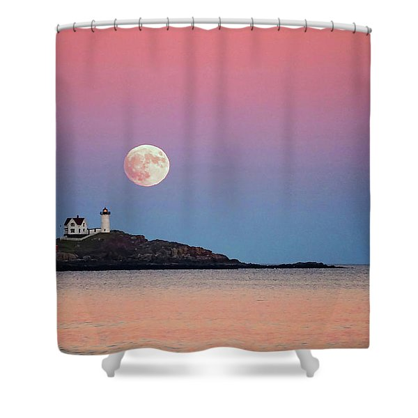 Full Moon Rising At Nubble Light Shower Curtain