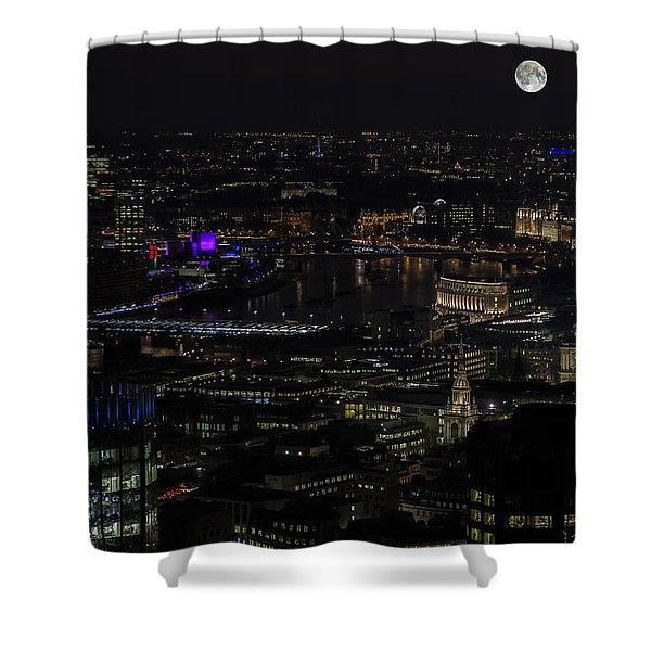 Full Color Moon Rising Over London Skyline  Shower Curtain
