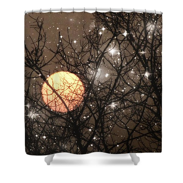 Full Moon Starry Night Shower Curtain