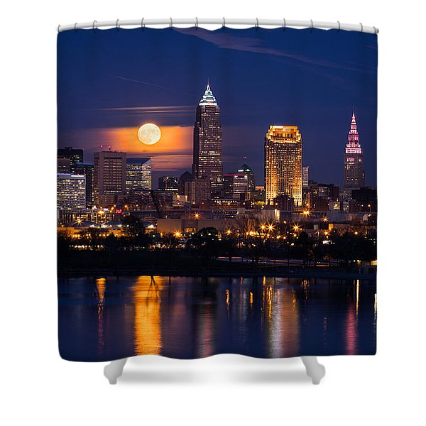 Full Moonrise Over Cleveland Shower Curtain