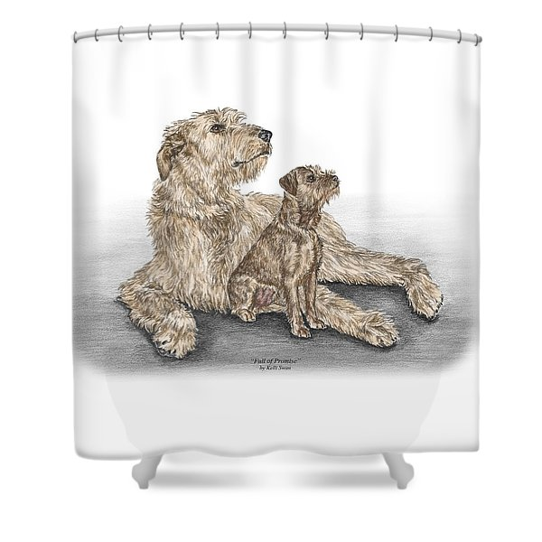 Full Of Promise - Irish Wolfhound Dog Print Color Tinted Shower Curtain
