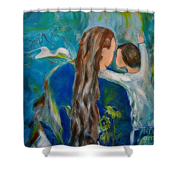 Shower Curtain featuring the painting Full Of Wonder by Deborah Nell