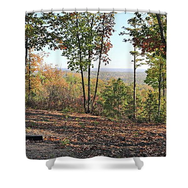 Full Panoramic View From The Summit Of Brown's Mountain Trail Shower Curtain