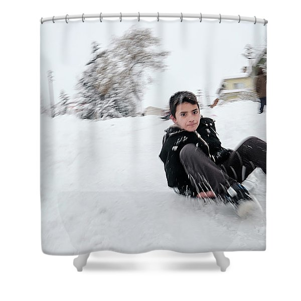 Fun On Snow-1 Shower Curtain