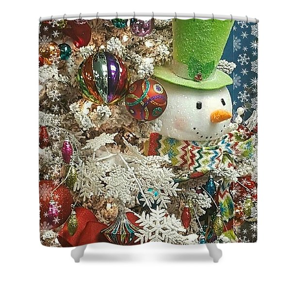 Fun Snowman Holiday Greeting Shower Curtain