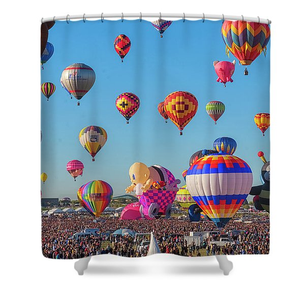 Shower Curtain featuring the photograph Funky Balloons by Tom Singleton