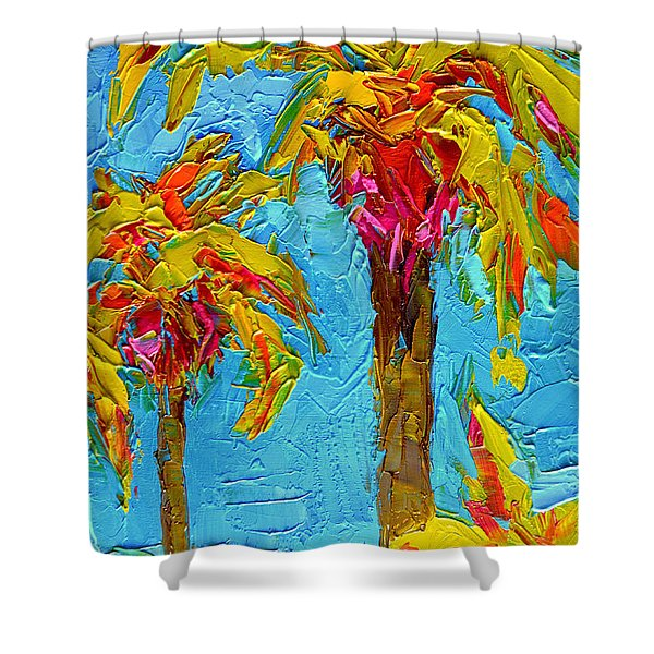 Funky Fun Palm Trees - Modern Impressionist Knife Palette Oil Painting Shower Curtain