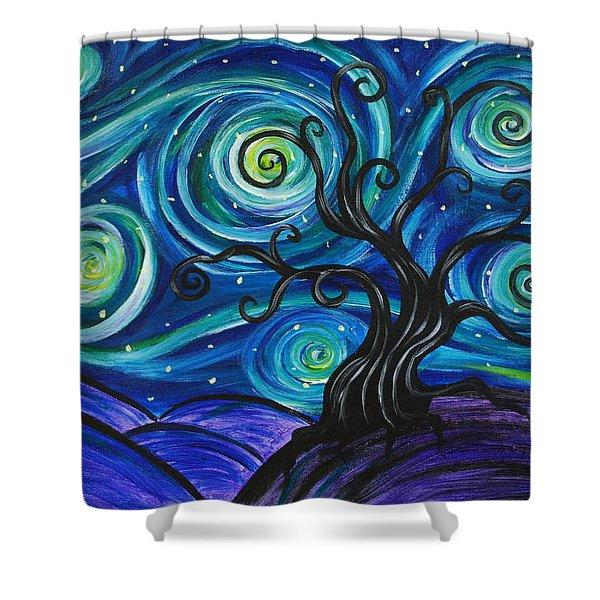 Funky Tree, Starry Night Shower Curtain