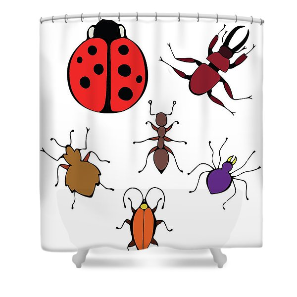 Funny Bugs Shower Curtain