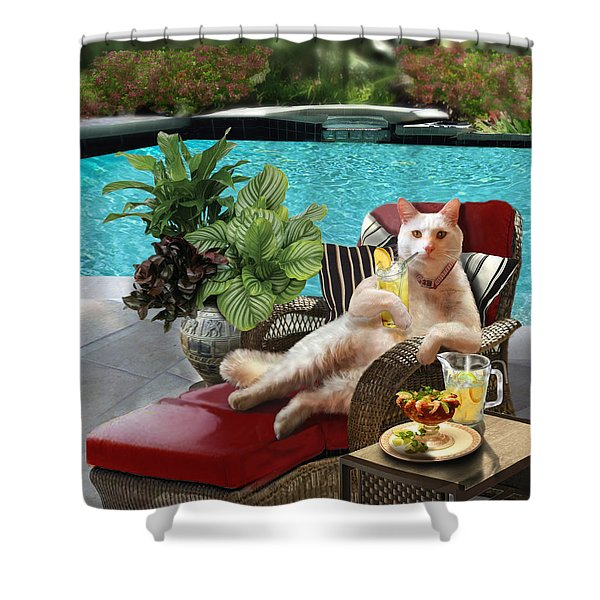 Funny Pet  Vacationing Kitty Shower Curtain