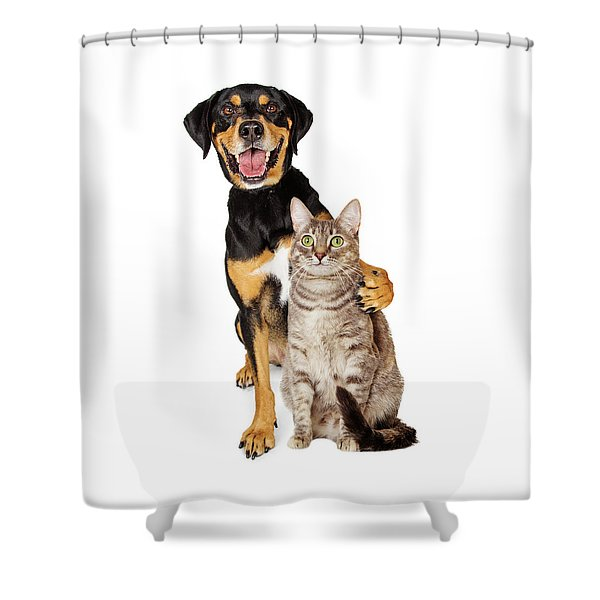 Funny Photo Of Dog With Arm Around Cat Shower Curtain