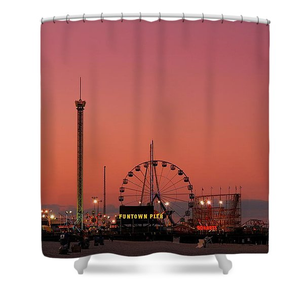 Funtown Pier At Sunset II - Jersey Shore Shower Curtain