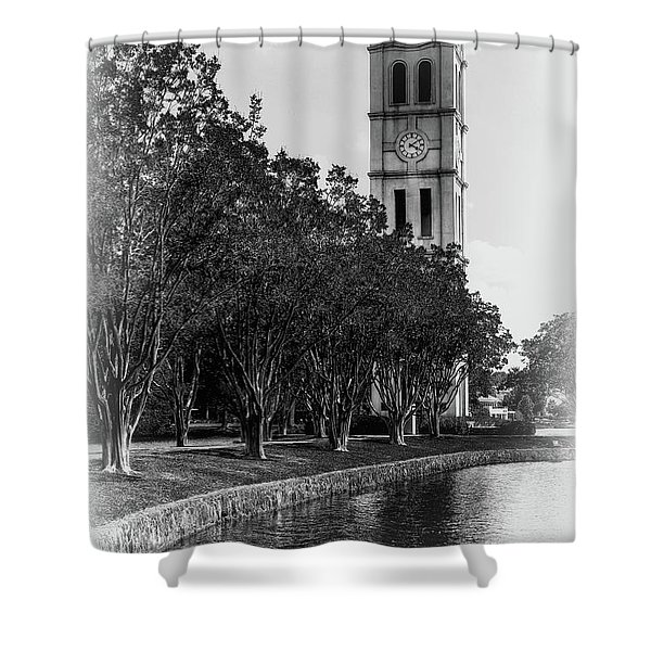 Furman University Bell Tower Greenville South Carolina Black And White Shower Curtain