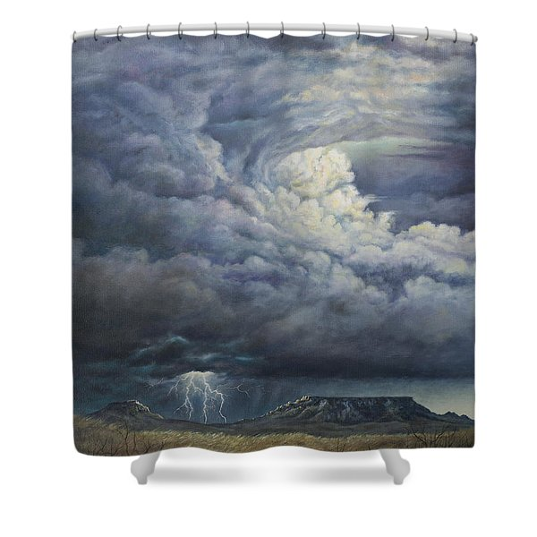 Fury Over Square Butte Shower Curtain