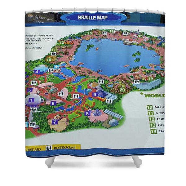 Future World Map Walt Disney World Digital Art Mp Shower Curtain