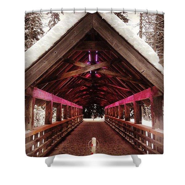 Futuristic Wooden Bridge In The Woods Shower Curtain