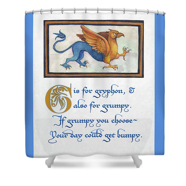 G Is For Gryphon Shower Curtain