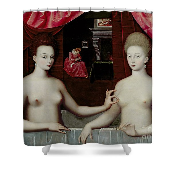 Gabrielle Destrees And Her Sister The Duchess Of Villars Shower Curtain