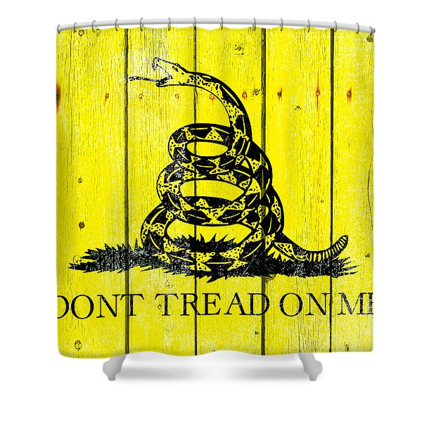 Gadsden Flag On Old Wood Planks Shower Curtain