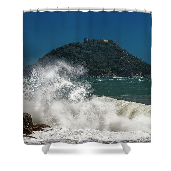 Gallinara Island Seastorm - Mareggiata All'isola Gallinara Shower Curtain