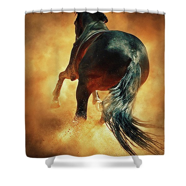 Galloping Horse In Fire Dust Shower Curtain