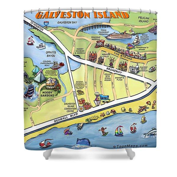 Galveston Texas Cartoon Map Shower Curtain