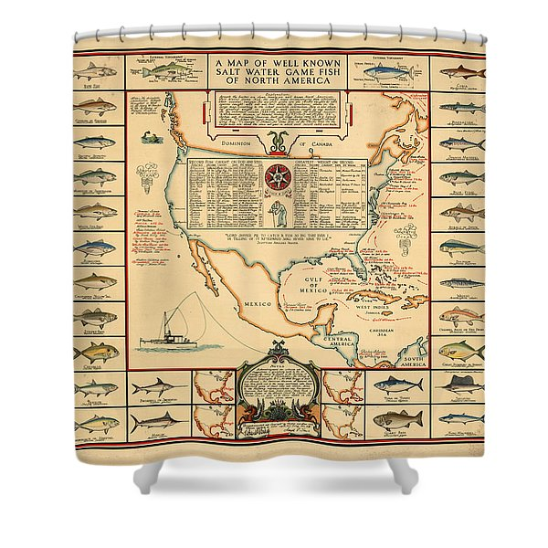 Game Fishing Chart Of North America - Game Fish Varieties - Illustrated Map For Anglers Shower Curtain