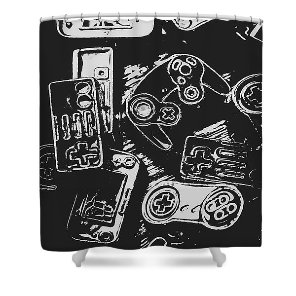 Game Play In Blocks And Lines Shower Curtain
