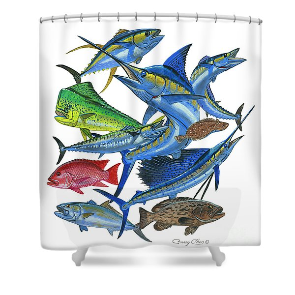 Gamefish Collage Shower Curtain