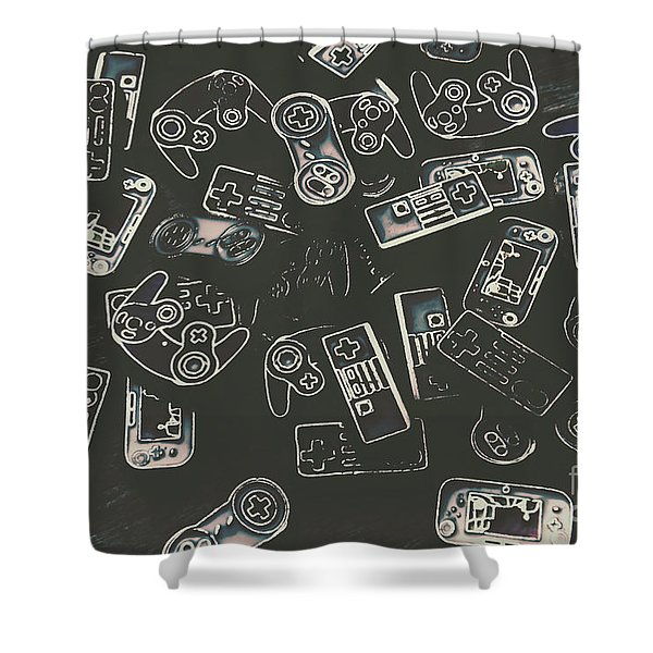 Gamers Of Arcade  Shower Curtain