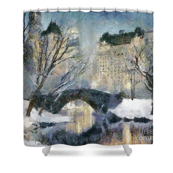 Gapstow Bridge In Snow Shower Curtain