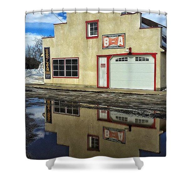 Garage Reflection Shower Curtain