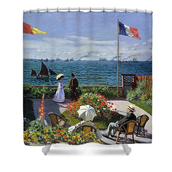 Garden At Sainte Adresse By Claude Monet Shower Curtain