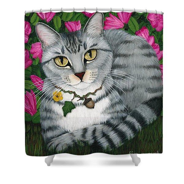 Garden Cat - Silver Tabby Cat Azaleas Shower Curtain