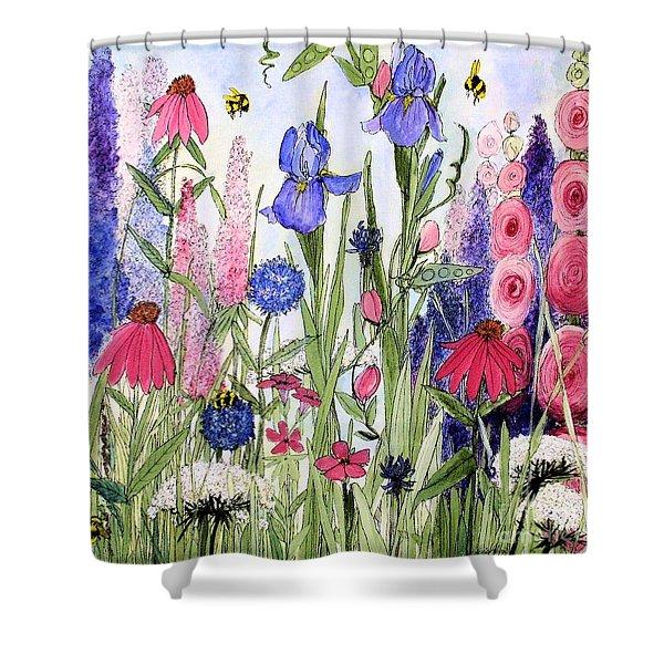 Garden Cottage Iris And Hollyhock Shower Curtain