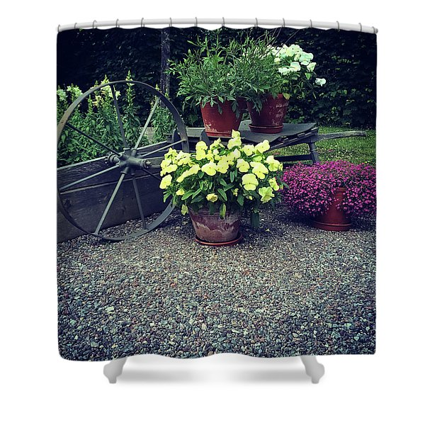 Garden Decorated With Flowers And Old Wheel Shower Curtain