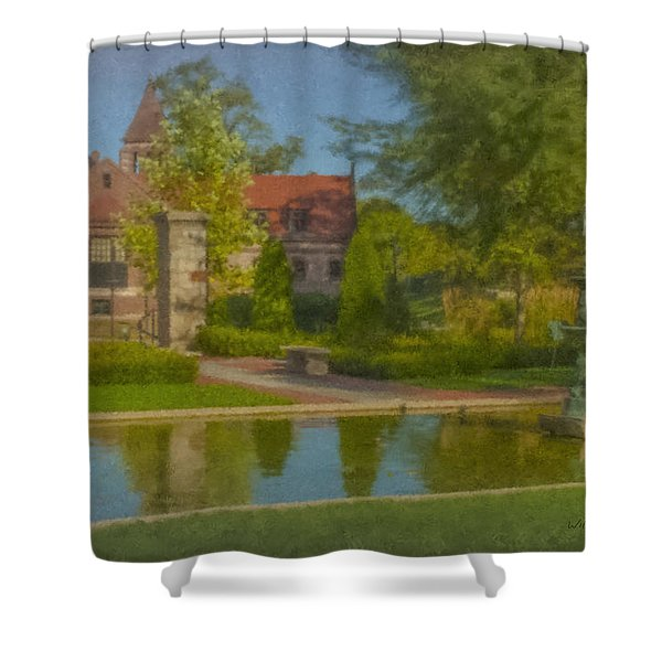 Garden Fountain At Ames Free Library Shower Curtain