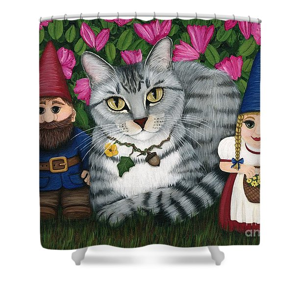 Garden Friends - Tabby Cat And Gnomes Shower Curtain