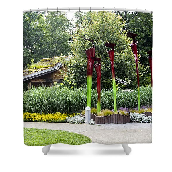 Garden Shed With Pitcher Plant Sculpture Shower Curtain
