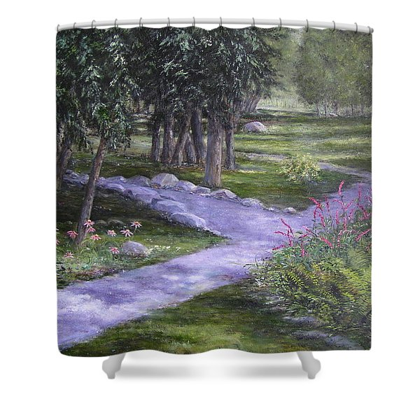 Shower Curtain featuring the painting Garden Walk by Jan Byington