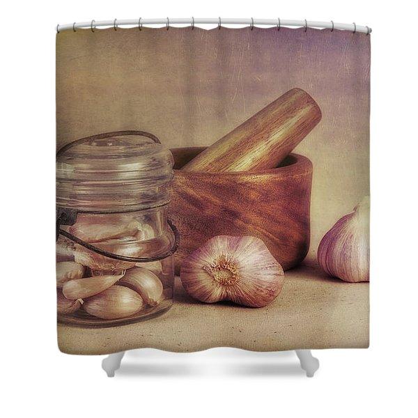 Garlic In A Jar Shower Curtain