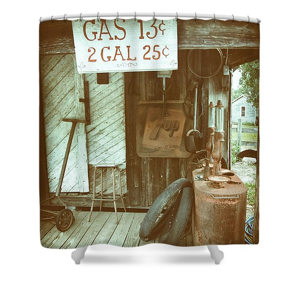 Shower Curtain featuring the photograph Gas 13 Cents by Charles McKelroy