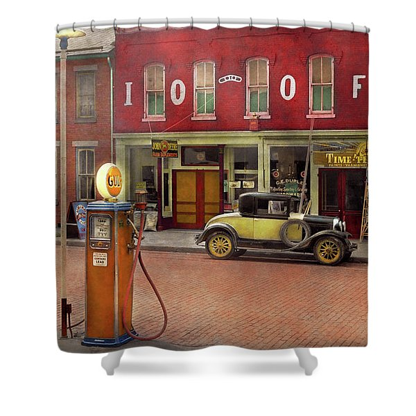 Gas Station - Lazy Saturday's 1935 Shower Curtain