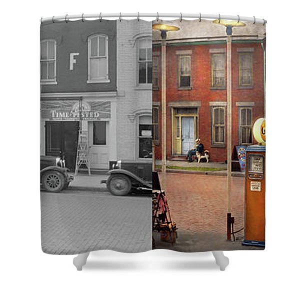 Gas Station - Lazy Saturday's 1935 - Side By Side Shower Curtain