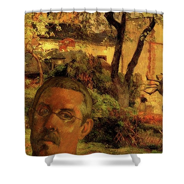 Shower Curtain featuring the digital art Gauguin Study In Orange by Tristan Armstrong