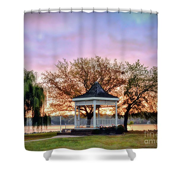 Gazebo Sunrise At Claytor Lake Shower Curtain