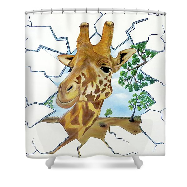 Gazing Giraffe Shower Curtain